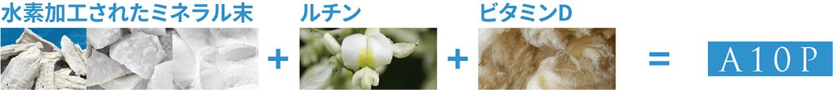 水素加工されたミネラル末 + ルチン + ビタミンD = A10P