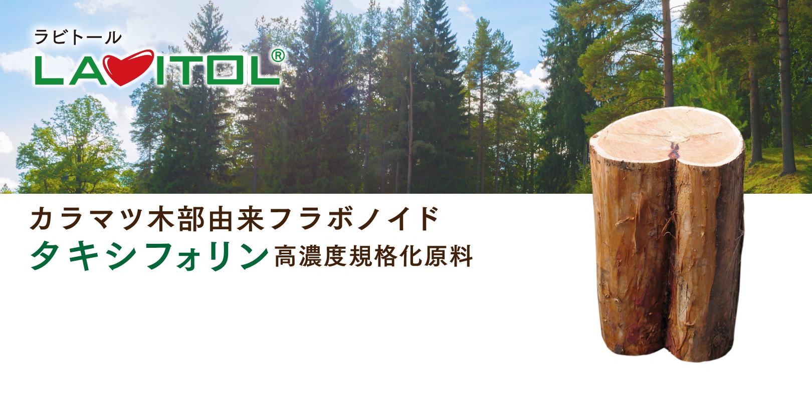 ラビトール(LAVITOL®) カラマツ木部由来フラボノイドタキシフォリン高濃度規格化原料。